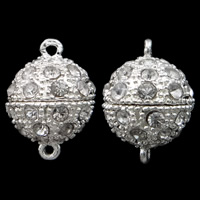 Zinc Alloy Magnetic Clasp, Round, silver color plated, with rhinestone & single-strand, nickel, lead & cadmium free, 14x20mm, Hole:Approx 1.5mm, 10PCs/Bag, Sold By Bag