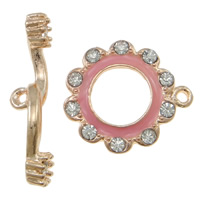 Zinc Alloy Toggle Clasp, Flower, rose gold color plated, enamel & with rhinestone & single-strand, nickel, lead & cadmium free, 28x7x4mm, 19x21x2.5mm, Hole:Approx 1.5mm, 10Sets/Bag, Sold By Bag
