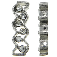 Zinc Alloy Spacer Bar, platinum color plated, 3-strand & with rhinestone, nickel, lead & cadmium free, 6x19x4mm, Hole:Approx 1mm, 10PCs/Bag, Sold By Bag
