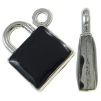 Sinkkiseos Lock riipukset, Lukko, platina väri päällystetty, emali, musta, nikkeli, lyijy ja kadmium vapaa, 15x17.50x4mm, Reikä:N. 1.5mm, 100PC/laukku, Myymät laukku