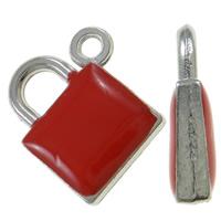 Sinkkiseos Lock riipukset, Lukko, platina väri päällystetty, emali, punainen, nikkeli, lyijy ja kadmium vapaa, 15x17.50x4mm, Reikä:N. 1.5mm, 100PC/laukku, Myymät laukku