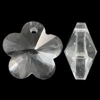 Zawieszki kryształowe, Kryształ, Kwiat, fasetowany & imitacja kryształu CRYSTALLIZED™, Crystal Clear, 14x13x7mm, otwór:około 1mm, 10komputery/torba, sprzedane przez torba