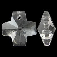 Crystal Pendants, Cross, faceted & imitation CRYSTALLIZED™ element crystal, Crystal Clear, 14x14x8mm, Hole:Approx 1mm, 10PCs/Bag, Sold By Bag