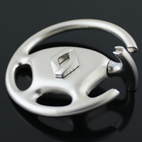 Zinc Alloy Key Clasp, Flat Round, platinum color plated, nickel, lead & cadmium free, 45mm, 20PCs/Lot, Sold By Lot