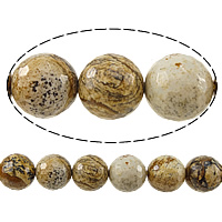 Natural Picture Jasper Beads, Round, faceted, 14mm, Hole:Approx 1.2-1.4mm, Length:Approx 15 Inch, 5Strands/Lot, Approx 27PCs/Strand, Sold By Lot