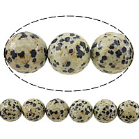 Natural Dalmatian Beads, Round, faceted, 10mm, Hole:Approx 1mm, Length:Approx 15 Inch, 10Strands/Lot, Approx 37PCs/Strand, Sold By Lot