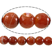 Natural Lace Agate Beads, Round, faceted, red, 12mm, Hole:Approx 1.5mm, Length:Approx 15 Inch, 5Strands/Lot, Approx 33PCs/Strand, Sold By Lot
