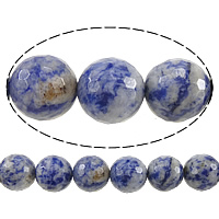 Natural Blue Spot Stone Beads, Round, different size for choice & faceted, Hole:Approx 0.8mm, Length:Approx 15 Inch, Sold By Lot
