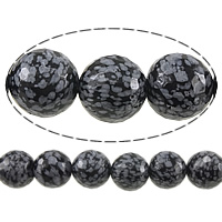 Natural Snowflake Obsidian Beads, Round, faceted, 14mm, Hole:Approx 1.2-1.4mm, Length:Approx 15 Inch, 5Strands/Lot, Approx 27PCs/Strand, Sold By Lot