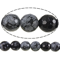 Natural Snowflake Obsidian Beads, Round, faceted, 6mm, Hole:Approx 0.8mm, Length:Approx 15 Inch, 10Strands/Lot, Approx 60PCs/Strand, Sold By Lot