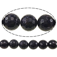 Blue Goldstone Beads, Round, faceted, 16mm, Hole:Approx 2mm, Length:Approx 15 Inch, 3Strands/Lot, Approx 25PCs/Strand, Sold By Lot