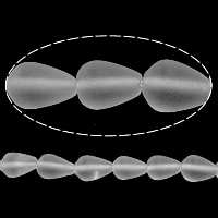 Natural Clear Quartz Beads, Teardrop, frosted, 10x7mm, Hole:Approx 1mm, Length:Approx 15 Inch, 5Strands/Lot, Approx 42PCs/Strand, Sold By Lot