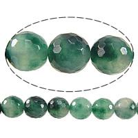 Luonnollinen Moss akaatti helmet, värjätyt Jade, Pyöreä, kasvot, 6mm, Reikä:N. 1mm, Pituus:N. 15 tuuma, 10säikeet/erä, N. 61PC/Strand, Myymät erä