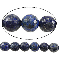 Natural Lapis Lazuli Beads, Round, faceted, 6mm, Hole:Approx 0.8mm, Length:Approx 15 Inch, 10Strands/Lot, Approx 60PCs/Strand, Sold By Lot