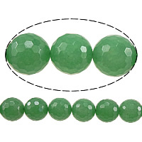Dyed Marble Beads, Round, faceted, green, 6mm, Hole:Approx 0.8mm, Length:Approx 15 Inch, 10Strands/Lot, Approx 60PCs/Strand, Sold By Lot