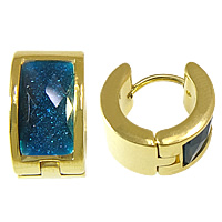 Stainless Steel Huggie Hoop Earring, 316 Stainless Steel, gold color plated, with resin rhinestone & faceted & colorful powder, dark blue, 7x13mm, 20Pairs/Lot, Sold By Lot