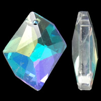Crystal Pendants, Nuggets, colorful plated, faceted, 20x16x4mm, Hole:Approx 1.5mm, 10PCs/Bag, Sold By Bag
