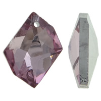 Crystal Pendants, Nuggets, silver color plated, faceted, Lt Amethyst, 20x16x4mm, Hole:Approx 1.5mm, 10PCs/Bag, Sold By Bag