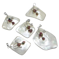 Natural White Shell Pendants, with Tourmaline & Brass, platinum color plated, 42-48x45-60mm, Hole:Approx 10-12mm, 10PCs/Lot, Sold By Lot