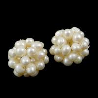 Koraliki z hodowlanych pereł w kształcie piłki, Perła naturalna słodkowodna, Koło, biały, 15-18mm, sprzedane przez PC