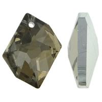Zawieszki kryształowe, Kryształ, Bryłki, Platerowane w kolorze srebra, fasetowany, jasna mokka, 20x16x4mm, otwór:około 1.5mm, 10komputery/torba, sprzedane przez torba