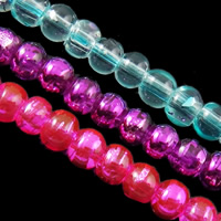 Fashion Glass Beads, Round, drawbench, mixed colors, 4mm, Hole:Approx 1mm, Length:Approx 31 Inch, 10Strands/Bag, Sold By Bag
