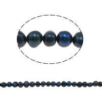 Potato Cultured Freshwater Pearl Beads, natural, black, 5-6mm, Hole:Approx 0.8mm, Sold Per 13.7 Inch Strand