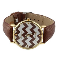 Unisex Wrist Watch, Cowhide, with zinc alloy dial, plated, coffee color, nickel, lead & cadmium free, 35mm, Length:Approx 9.4 Inch, 10Strands/Lot, Sold By Lot
