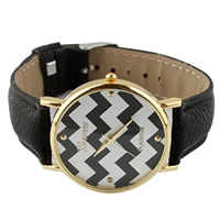 Unisex Wrist Watch, Cowhide, with zinc alloy dial, plated, black, nickel, lead & cadmium free, 35mm, Length:Approx 9.4 Inch, 10Strands/Lot, Sold By Lot