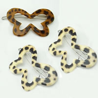 Hair Clip, Acrylic, with Iron, Butterfly, leopard pattern, mixed colors, 54x36mm, 12PCs/Bag, Sold By Bag