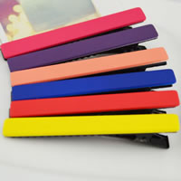 Beak Clips, Acrylic, with Iron, Rectangle, frosted, mixed colors, 78x10mm, 50PCs/Bag, Sold By Bag