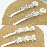 Hair Slide, Zinc Alloy, silver color plated, with plastic pearl & with rhinestone & mixed, nickel, lead & cadmium free, 65x10mm, 12Pairs/Bag, Sold By Bag