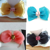 Beak Clips, Chiffon, with Iron, Bowknot, mixed colors, 120x100mm, 20PCs/Bag, Sold By Bag