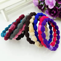 Ponytail Holder, Nylon Cord, with Plastic, mixed colors, 8-15mm, 100PCs/Bag, Sold By Bag