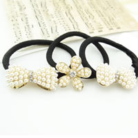Ponytail Holder, Zinc Alloy, with nylon elastic cord, gold color plated, with glass pearl & with rhinestone & mixed, nickel, lead & cadmium free, 10-20mm, 20PCs/Bag, Sold By Bag