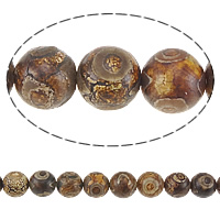 Natural Tibetan Agate Dzi Beads, Round, brown, 14mm, Hole:Approx 1.5mm, Length:Approx 14.7 Inch, 5Strands/Lot, Approx 26PCs/Strand, Sold By Lot