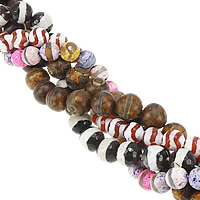 Natural Tibetan Agate Dzi Beads, Round, faceted & mixed, 14mm, Hole:Approx 1-1.5mm, Length:Approx 15 Inch, 5Strands/Lot, Approx 27PCs/Strand, Sold By Lot
