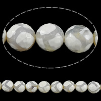 Natural Tibetan Agate Dzi Beads, Round, faceted, white, 14mm, Hole:Approx 1mm, Length:Approx 15 Inch, 5Strands/Lot, Approx 27PCs/Strand, Sold By Lot