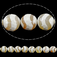 Natural Tibetan Agate Dzi Beads, Round, faceted, 14mm, Hole:Approx 1mm, Length:Approx 15 Inch, 5Strands/Lot, Approx 27PCs/Strand, Sold By Lot