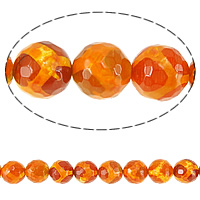 Natural Tibetan Agate Dzi Beads, Round, faceted, orange, 14mm, Hole:Approx 1mm, Length:Approx 15 Inch, 5Strands/Lot, Approx 27PCs/Strand, Sold By Lot
