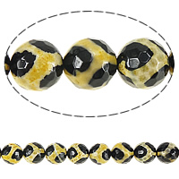 Natural Tibetan Agate Dzi Beads, Round, faceted, 14mm, Hole:Approx 1mm, Length:Approx 14.5 Inch, 5Strands/Lot, Approx 26PCs/Strand, Sold By Lot