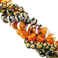 Natural Tibetan Agate Dzi Beads, Round, faceted & mixed, 10mm, Hole:Approx 1mm, Length:Approx 14 Inch, 10Strands/Lot, Approx 35PCs/Strand, Sold By Lot
