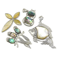 Shell Pendants, Zinc Alloy, with Shell, platinum color plated, with rhinestone & mixed, nickel, lead & cadmium free, 18-47x30-43x6, Hole:Approx 4-6mm, 20PCs/Lot, Sold By Lot