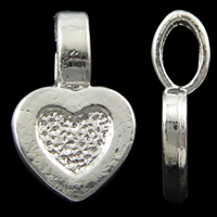 Zinc Alloy Glue on Bail, Heart, silver color plated, nickel, lead & cadmium free, 9x15x2mm, Hole:Approx 3x5mm, Approx 1250PCs/KG, Sold By KG