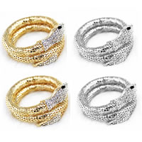 Zinc Alloy Bangle, Snake, plated, with rhinestone, mixed colors, nickel, lead & cadmium free, 40-50mm, Length:Approx 7.5 Inch, 6Strands/Bag, Sold By Bag