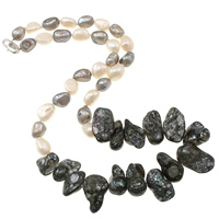 Natural Freshwater Pearl Necklace brass lobster clasp Keishi 8-9mm  20-35mm Sold Per Approx 18.5 Inch Strand
