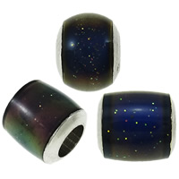 Enamel Mood Beads, Brass, platinum color plated, change their color according to the temperature, nickel, lead & cadmium free, 5.5x6mm-7.5x8mm, Hole:Approx 3-4mm, 100PCs/Bag, Sold By Bag