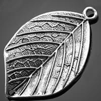 Лист цинкового сплава разъем, цинковый сплав, Листок, плакированный цветом под старое серебро, 1/1 петля, не содержит никель, свинец, 19.60x32.30mm, отверстие:Приблизительно 2mm, 500ПК/сумка, продается сумка