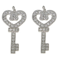 Cubic Zirconia Micro Pave Brass Pendant, Key, platinum color plated, micro pave cubic zirconia, nickel, lead & cadmium free, 10.50x22x2mm, Hole:Approx 0.5mm, 20PCs/Lot, Sold By Lot