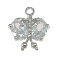 Brass Jewelry Pendants, platinum color plated, with cubic zirconia, nickel, lead & cadmium free, 13.50x14.50x3mm, Hole:Approx 1.5mm, 50PCs/Lot, Sold By Lot